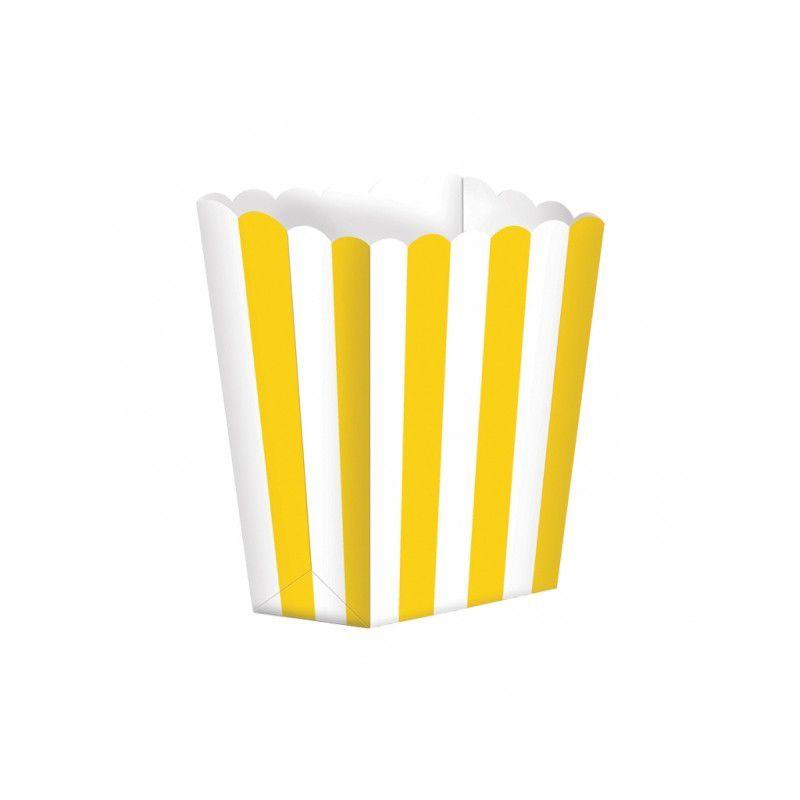 Caixas de Pipocas Riscas 5 unidades -  Amarelo Tamanho S