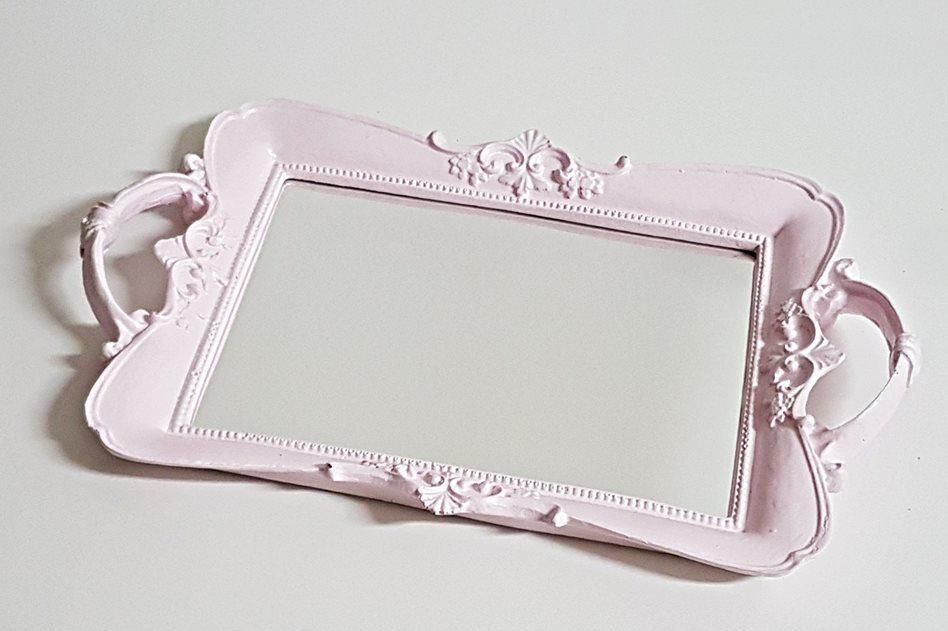 Bandeja Vintage Espelhada Rosa