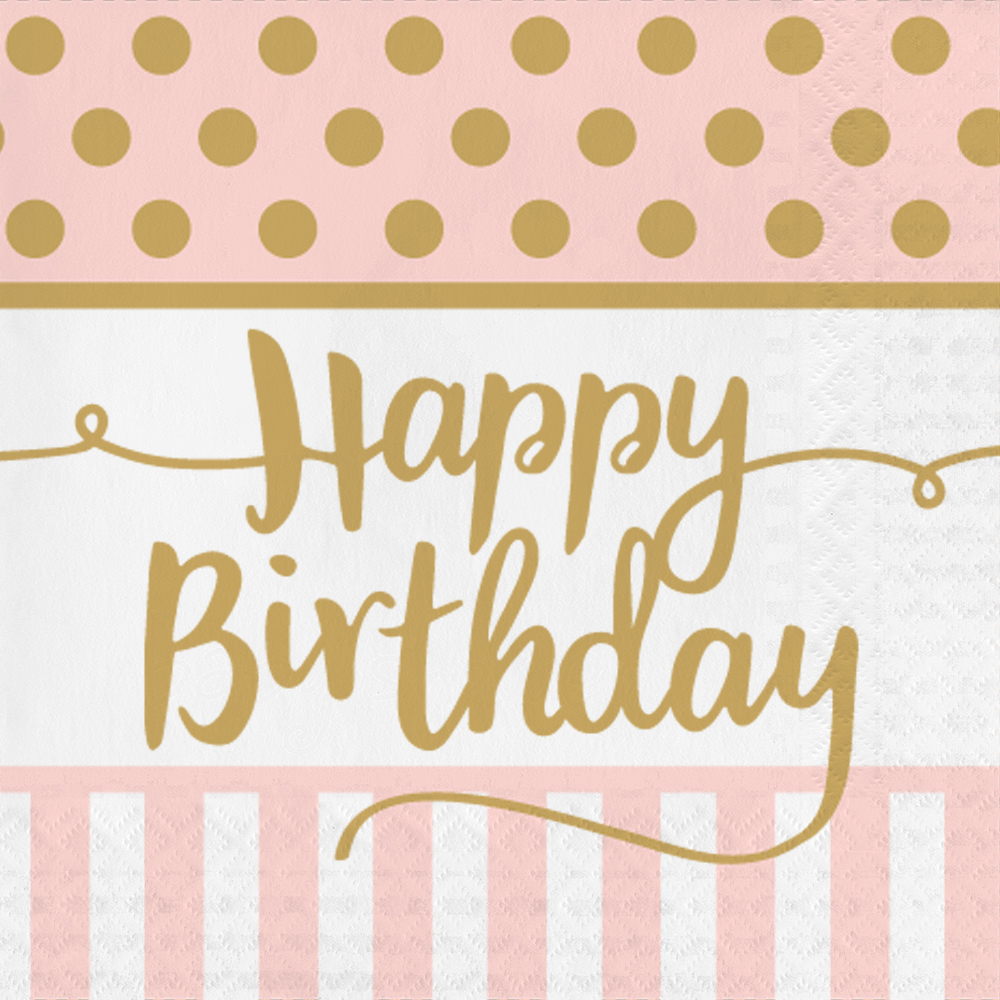 Guardanapos Pink Chic Happy Birthday