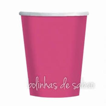 Copos Lisos Rosa Forte - 10 unidades
