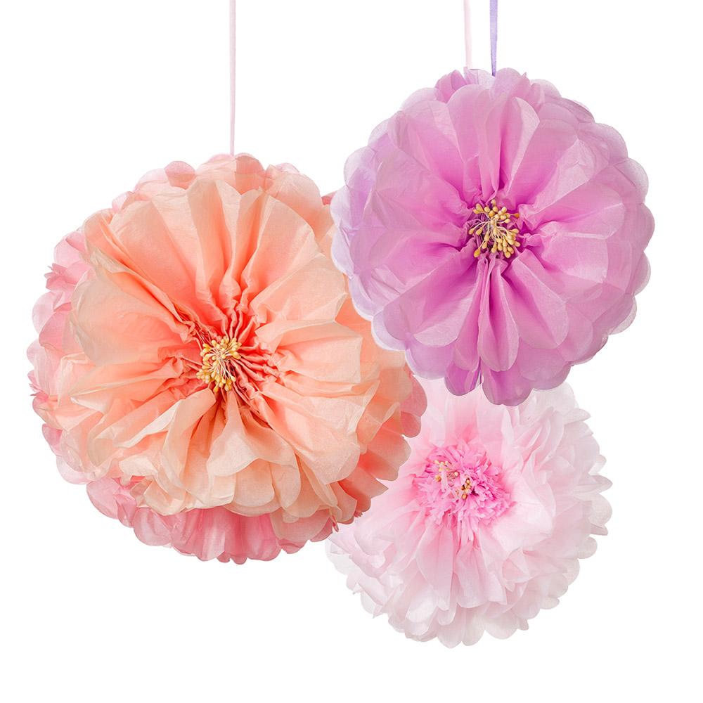 3 Pompons Flores Blush