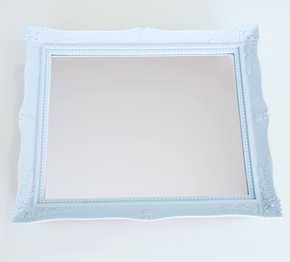 Bandeja Vintage Espelhada Azul Claro