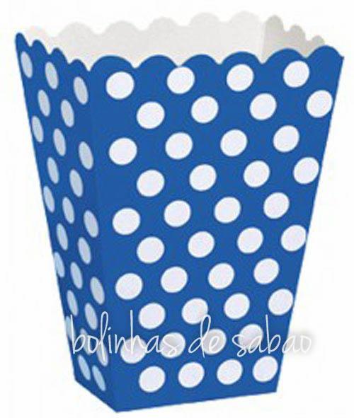 Caixas de Pipocas 8 unidades - Azul Escuro Tamanho M