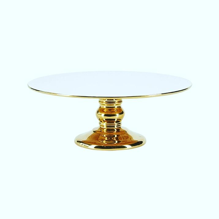 Cake Stand Cerâmica Dourado e Branco  26 CM - Miss Etoile