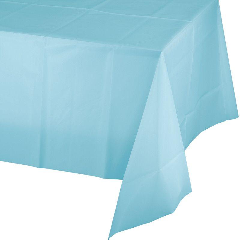 Toalha de Mesa Plástico - Azul Bebé