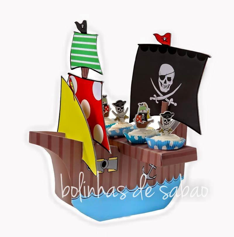 Suporte para Cupcakes Barco Pirata