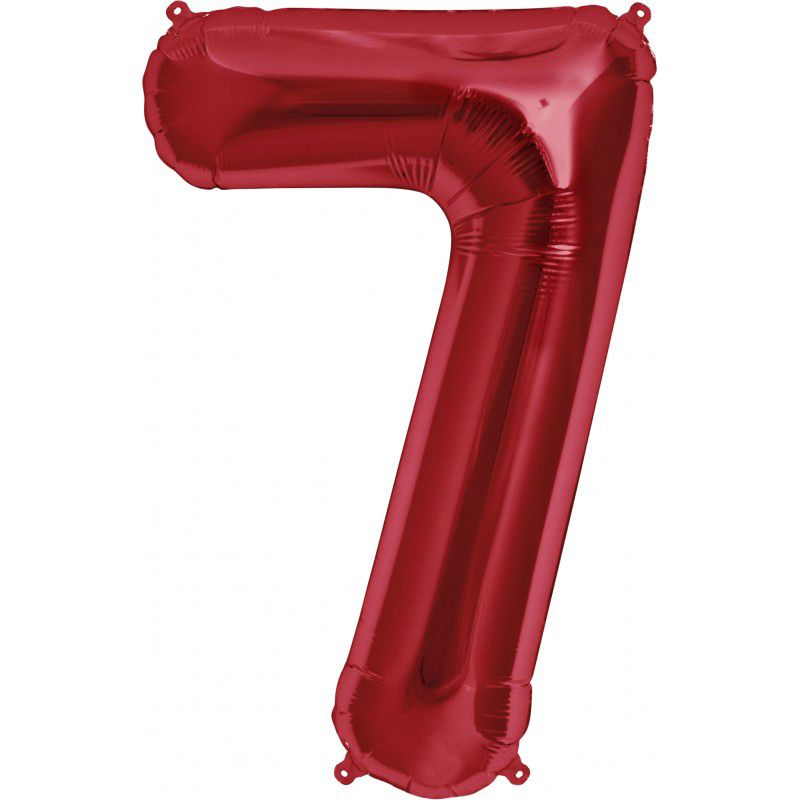 """Balão Foil 34 """"nº 7 Vermelho"""