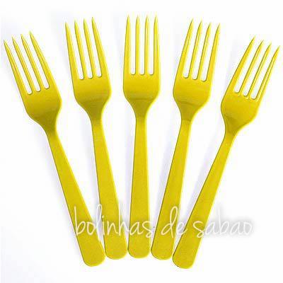 Garfos Plástico 8 unidades - Amarelo
