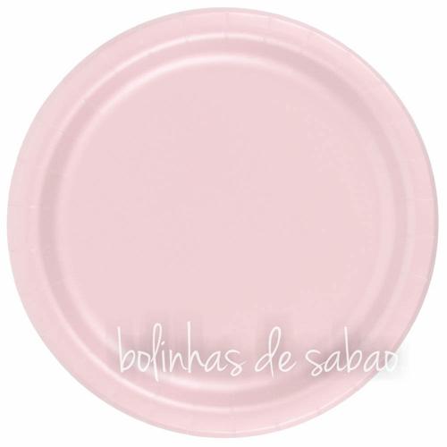 Pratos Lisos 23cm 8 unidades - Rosa Bebé
