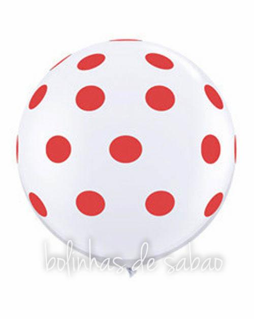Balões Bolinhas 5 unidades - Branco e Vermelho