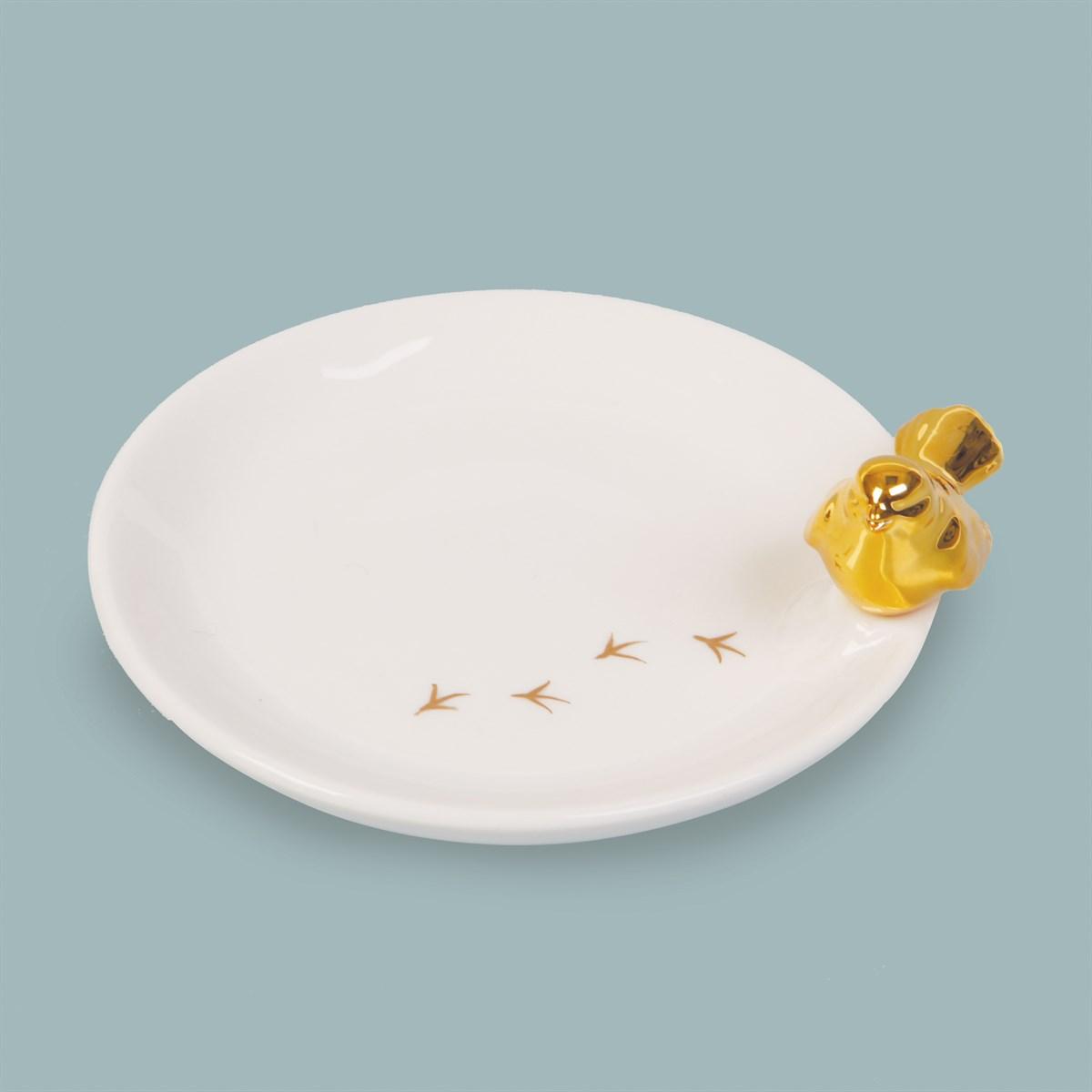 Prato Cerâmica Pássaro Dourado