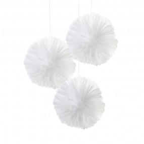 3 Pompons em Tule - Branco