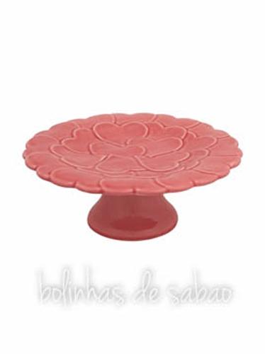 Prato de Pé Corações 22 cm - Rosa