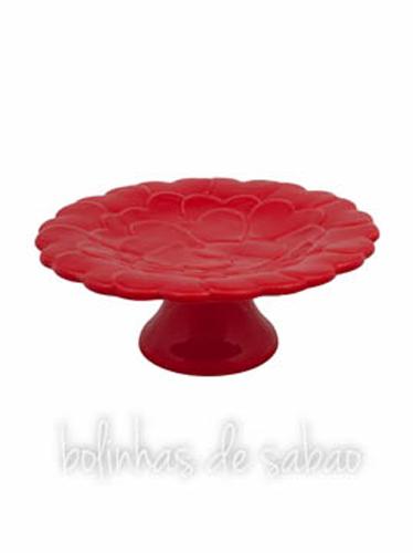 Prato de Pé Corações 22 cm - Vermelho