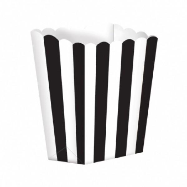Caixas de Pipocas Riscas 5 unidades - Preto Tamanho S
