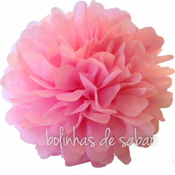 Pompom de Papel 30 cm - Rosa Claro