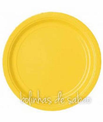 Pratos Lisos Redondos 8 unidades 23cm - Amarelo