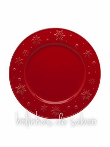 Prato Raso 28 cm - Snowflakes Vermelho