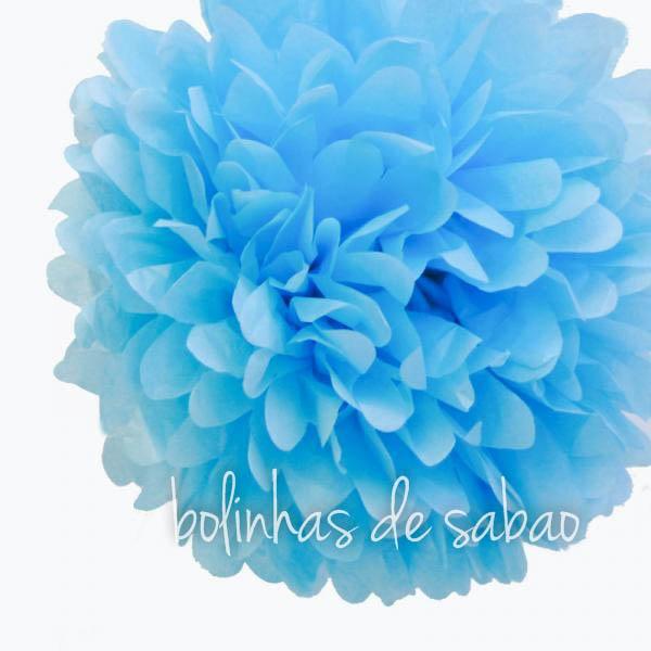 Pompom de Papel 30 cm - Azul Claro