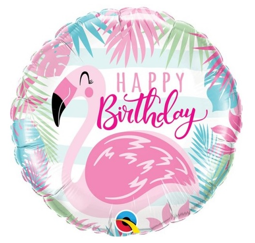 "Balão Foil 18"" Happy Birthday Flamingo"
