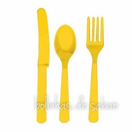 Facas Plástico 8 unidades - Amarelo