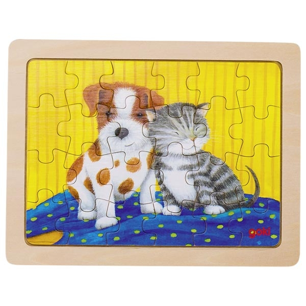 Puzzle de Peças Pequeno Cão e Gato - Goki
