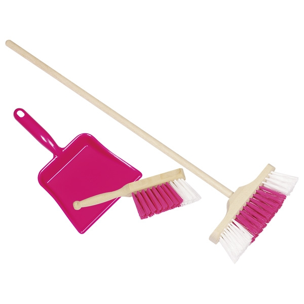 Conjunto Rosa de Vassoura, Escova de Varrer e Pá de Lixo - Goki