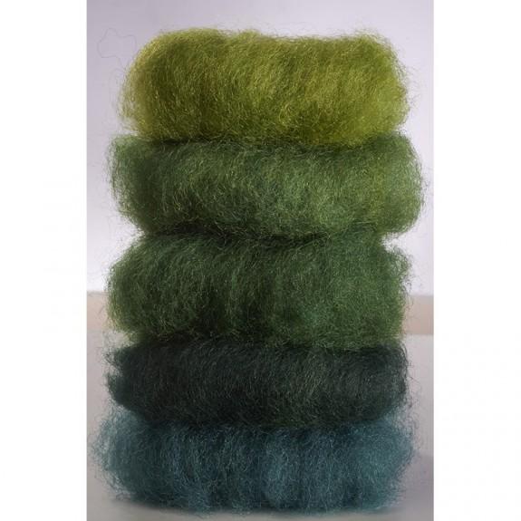 Lã Natural de Feltrar Verde Sortido 50gr - Gluckskafer
