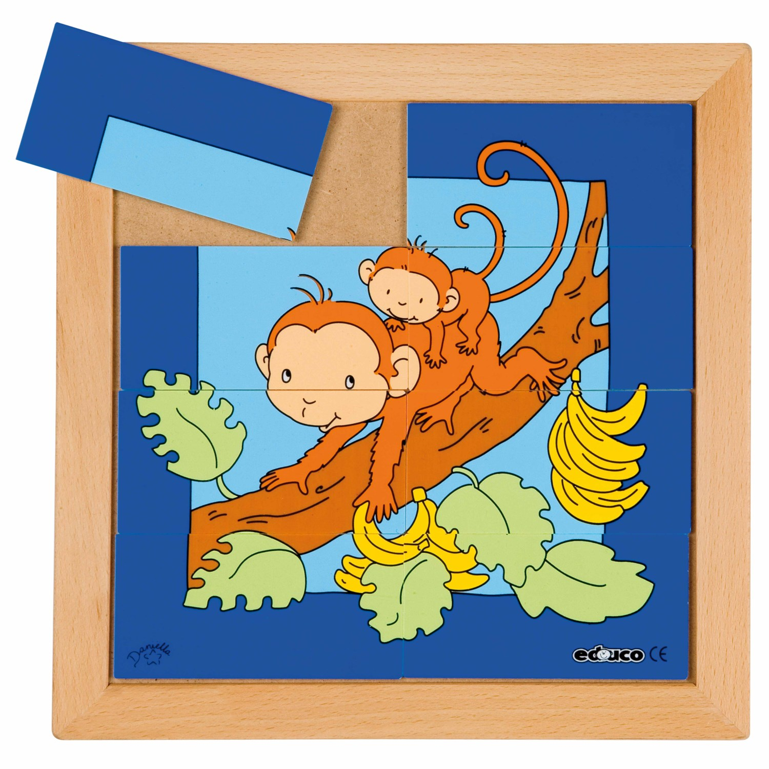 Animal puzzle mother + child - monkey - Educo