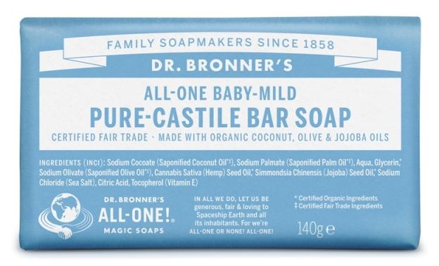 Suave–Bebé (sem perfume) Sabonete em Barra biológico - Dr. Bronner's