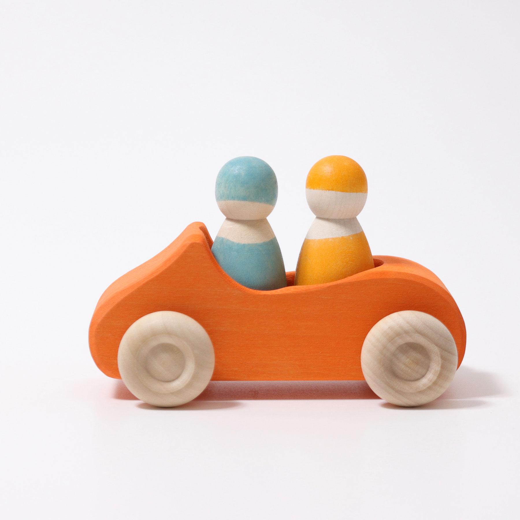 Carro Laranja e 2 Bonecos Peg Azul e Amarelo - Grimm's