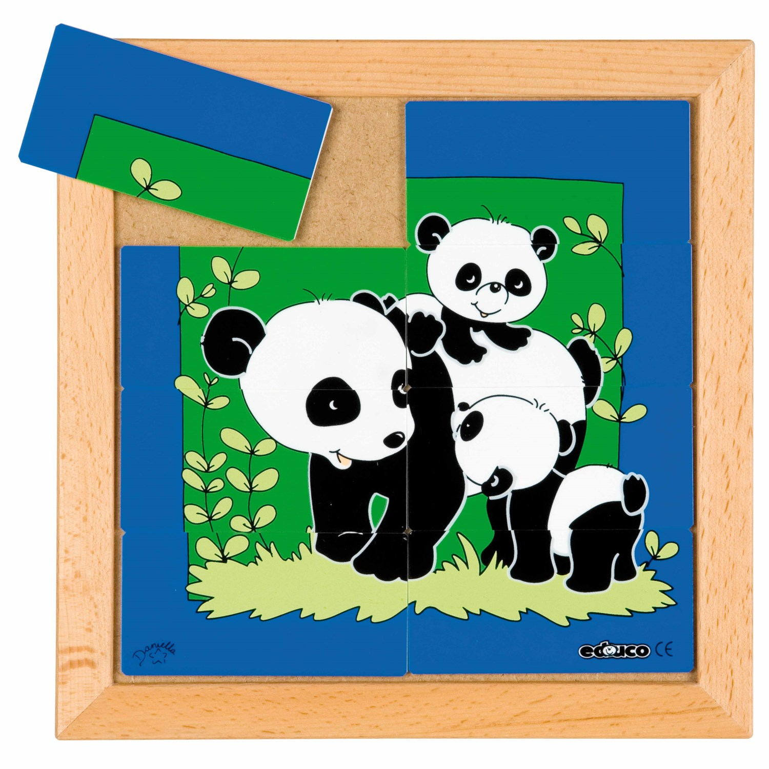 Animal puzzle mother + child - panda - Educo