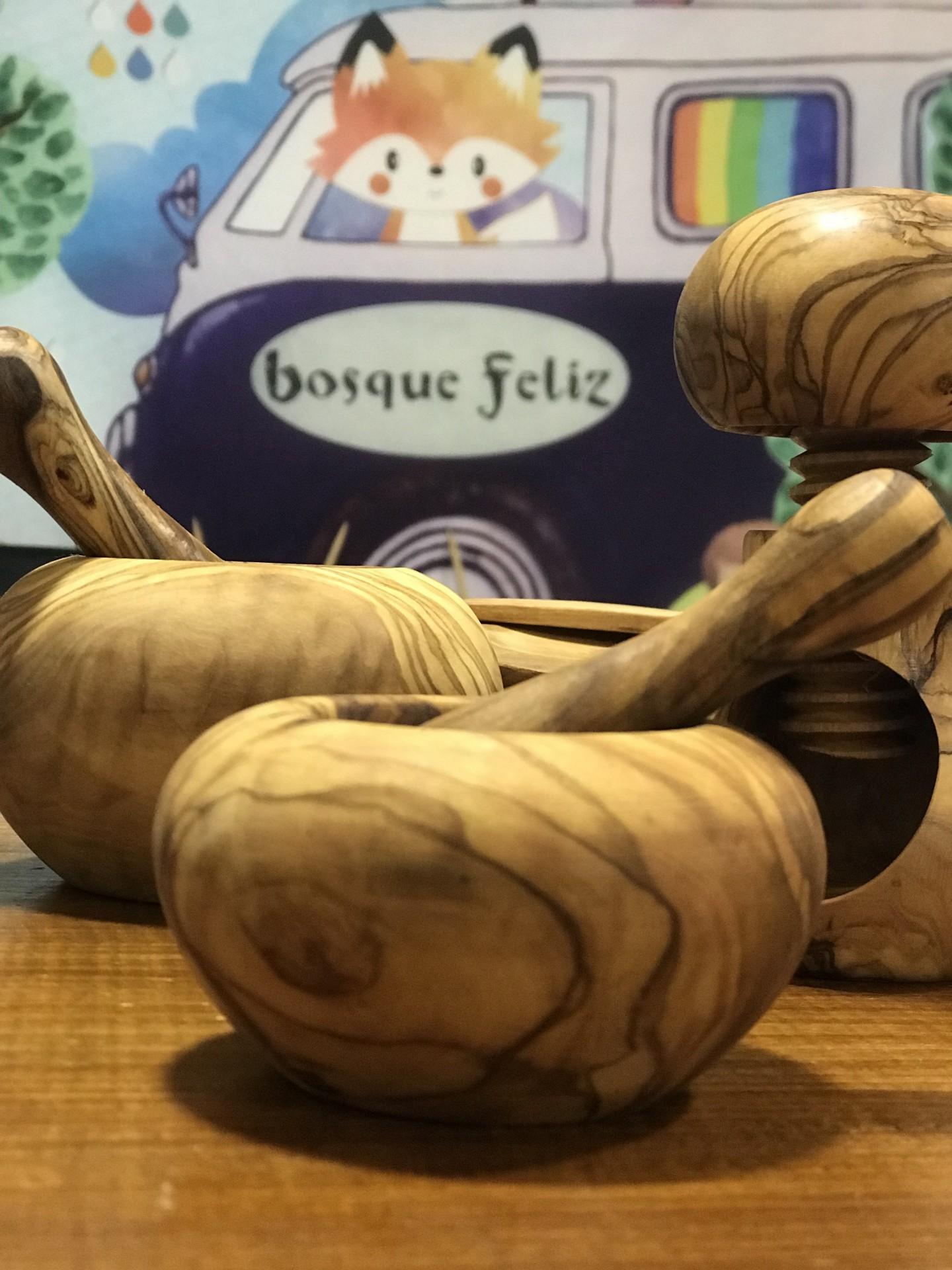 Almofariz de Madeira 8cm - Bosque Feliz