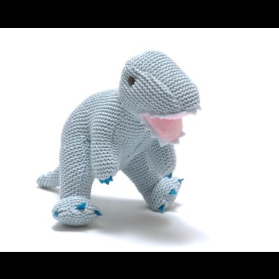 T-Rex Azul Pequena Roca de Tricô - Best Years