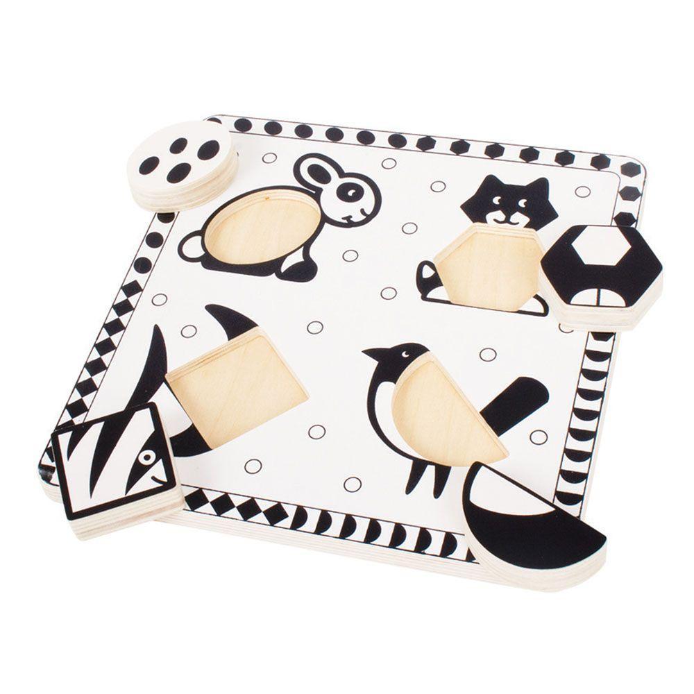 Puzzle de Encaixar Preto e Branco Animais II - BigJigs