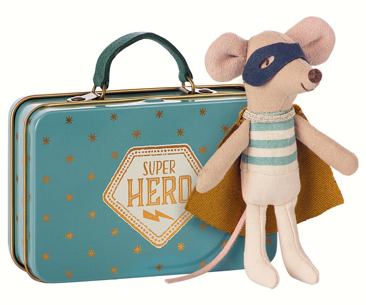 Ratinho Super Herói em Mala - Maileg