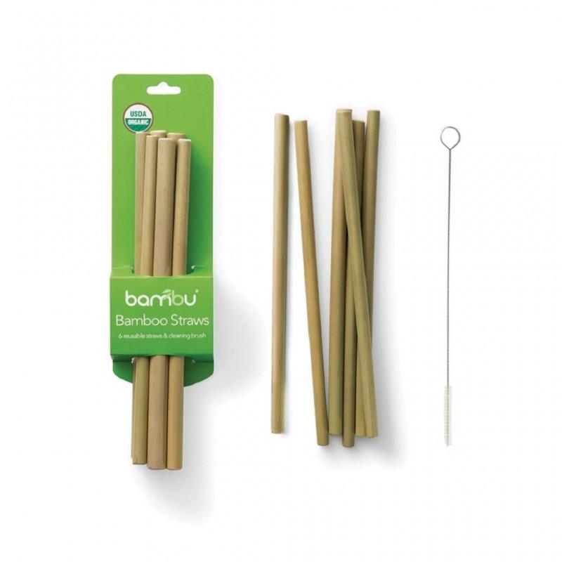 Palhinha Bambú Set 6 e Escova Limpeza em Sisal - Bambu