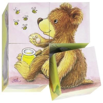 Puzzle de Cubos Animais Bebé - Goki