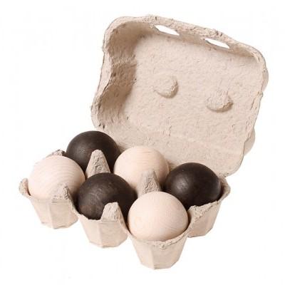 6 Bolas de Madeira Preto e Branco - Grimm's