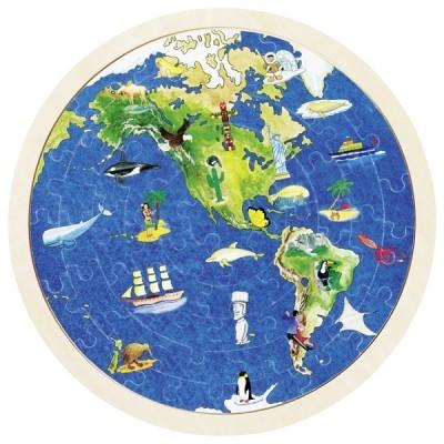 Puzzle de Peças Redondo Mundo - Goki