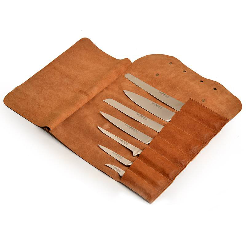 LEATHER KNIFE ROLL BLACK 7 KNIVES