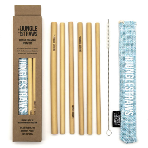 6 CANAS DE BAMBU NATURAL COM SACOS E ESCOVA / NATURAL BAMBOO STRAWS WITH JUTE BAG AND POUCH SET OF 6