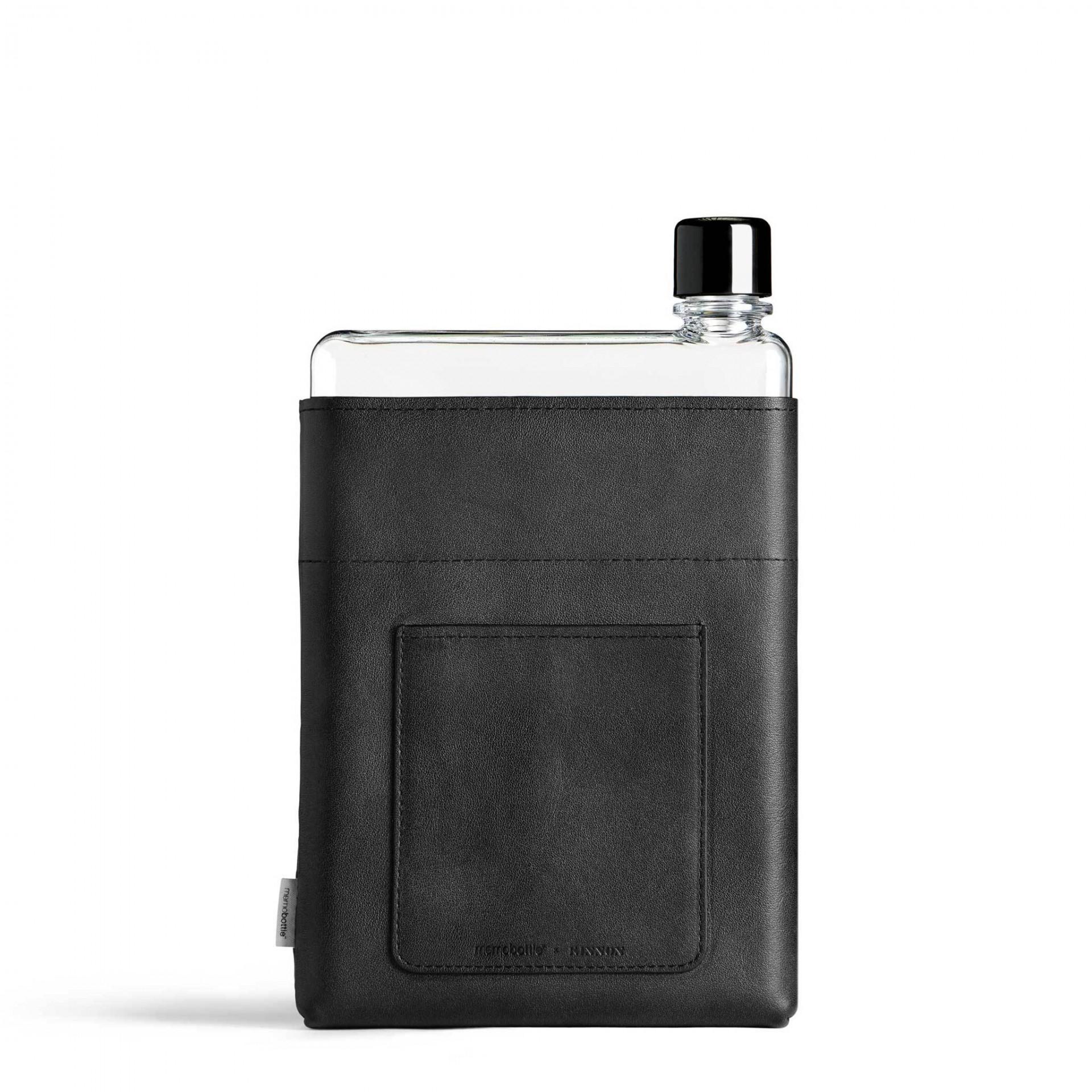 A5 Black Leather Sleeve memobottle