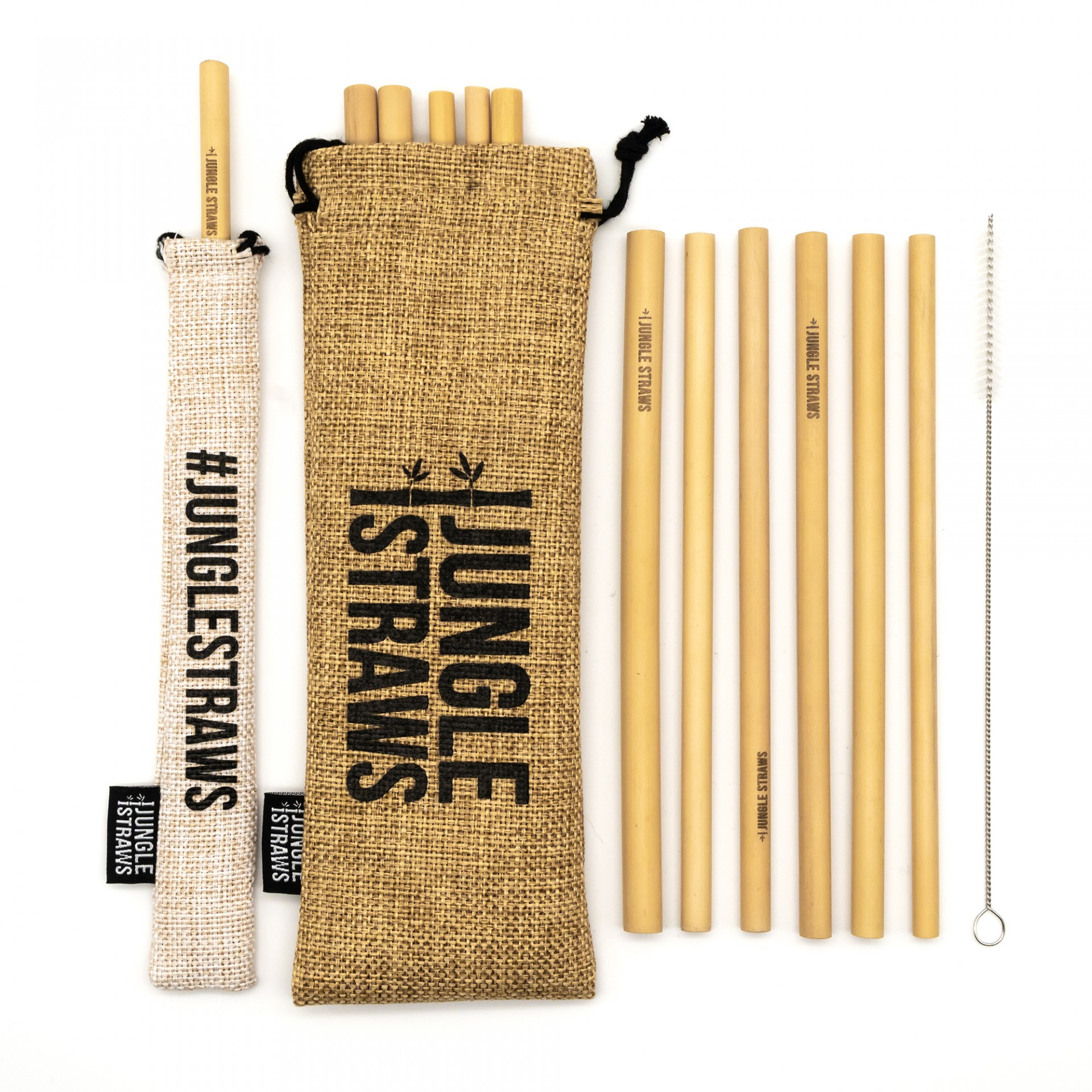 12 CANUDOS DE BAMBU NATURAL COM SACOS E ESCOVA / NATURAL BAMBOO STRAWS WITH JUTE BAG AND POUCH SET OF 12