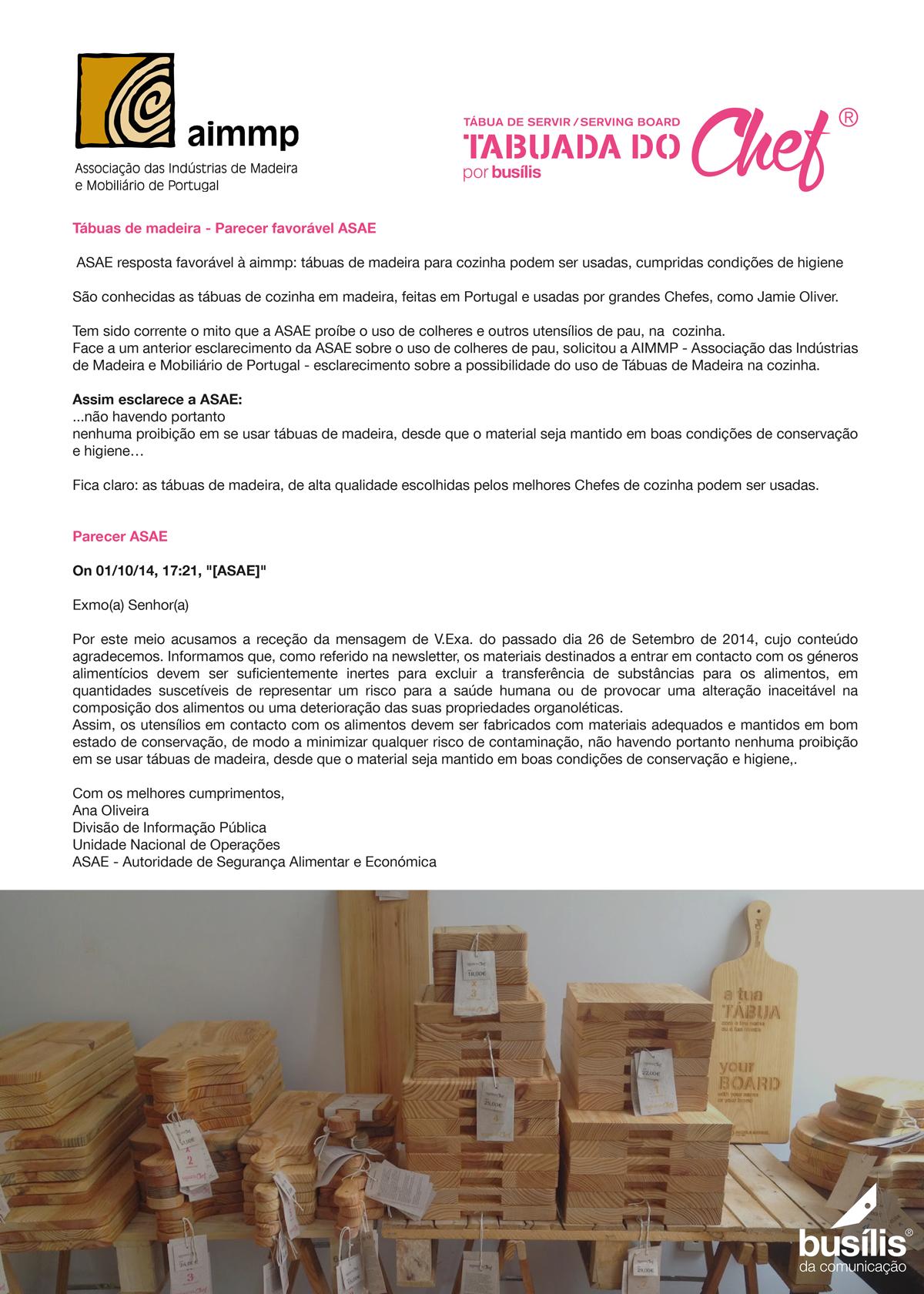 Tábuas de madeira - Parecer favorável da ASAE