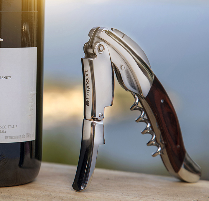 """Saca-rolhas / Corkscrew """"Ghemme"""" in stainless steel and wengé"""