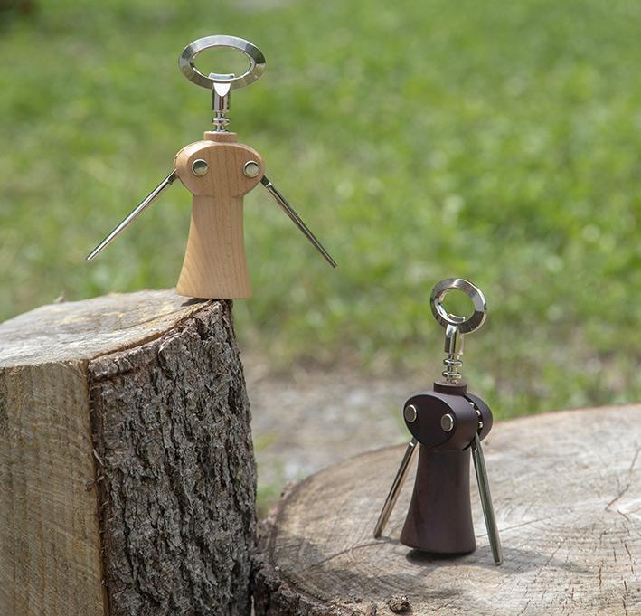 "Saca-rolhas / Winged corkscrew wine bottle opener ""Merlot"" – dark beech wood"