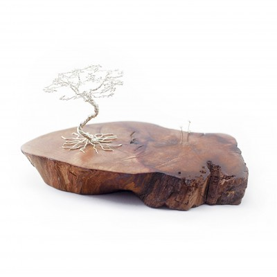 Silver tree sculpture on Arbutus wood