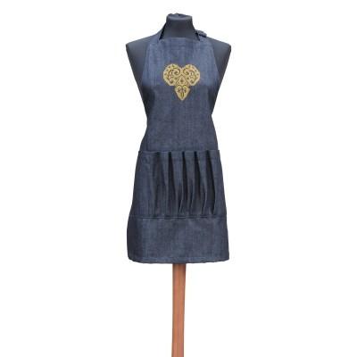 Avental em ganga - coração dourado em filigrana, com folhos