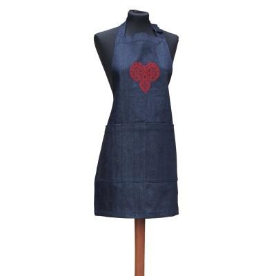 Avental em ganga - coração vermelho em filigrana, sem folhos